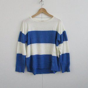 Spense Sweater Blue Ivory Stripe Size XL